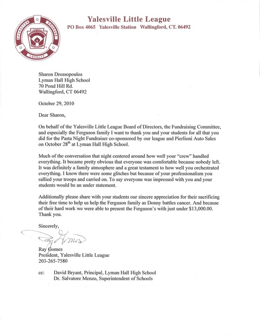 sample community service letter letters of appreciation lyman culinary arts and 1450